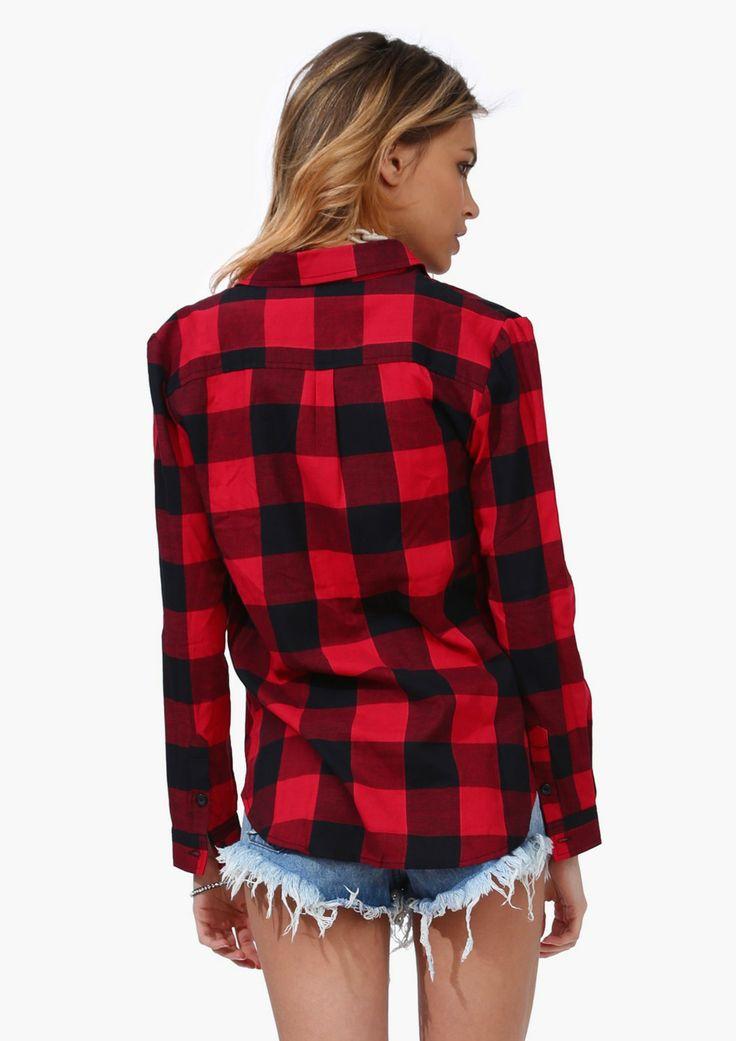Red Plaid Shirt Fashion Pinterest