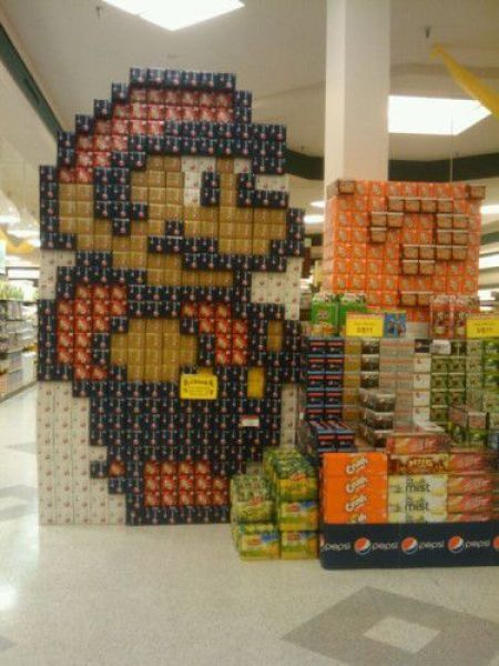Mario art. Medium: Soda cans video-game-stuff Epic! Just freakin Epic!
