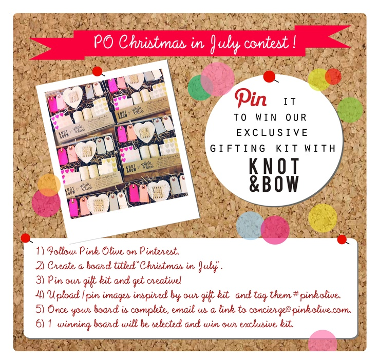 "Join us for our first ""Christmas in July"" Pinterest Contest. We can't wait to check out your boards. Effective 7/1/12-7/27/12"