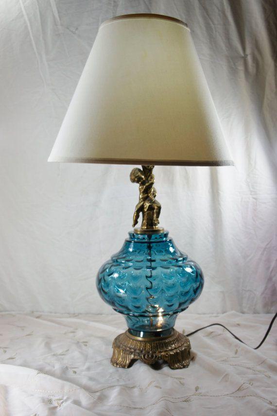 vintage table lamp blue glass cherub accent nightlight unusual color. Black Bedroom Furniture Sets. Home Design Ideas
