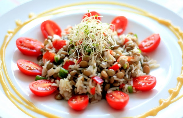 Lentil and Rice Salad with Honey Mustard | April 2013 | Pinterest