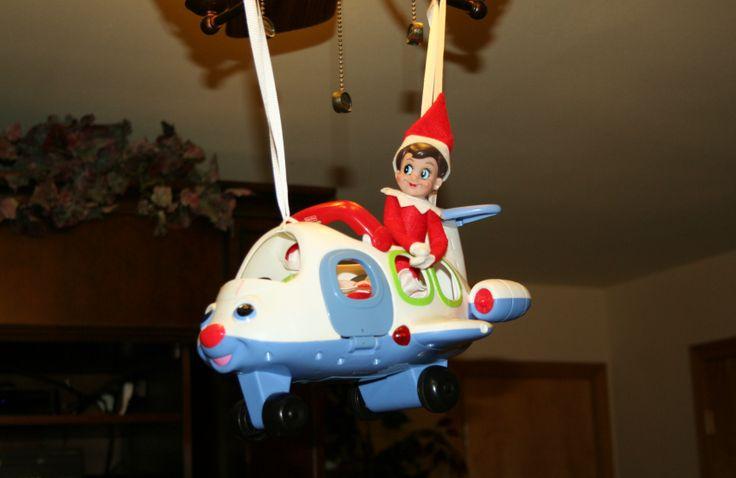 elf taking a plane ride | Elf on the shelf ideas | Pinterest