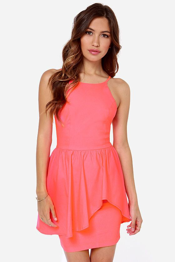 products save last dance neon coral dress