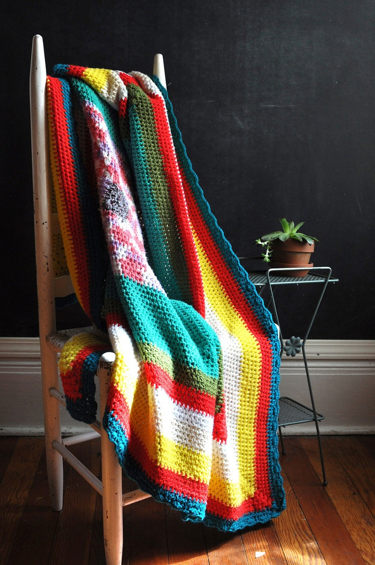 Vintage 70s Afghan Blanket Crazy Color Squares