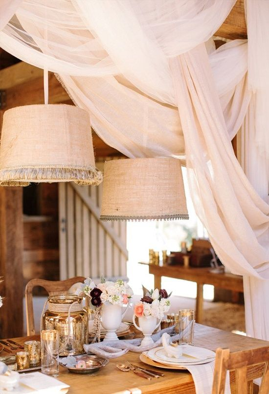 elegant draping in a rustic wedding setting