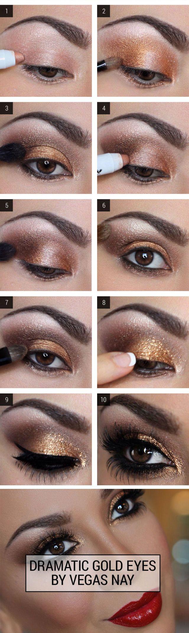 Dramatic eye makeup for brown eyes