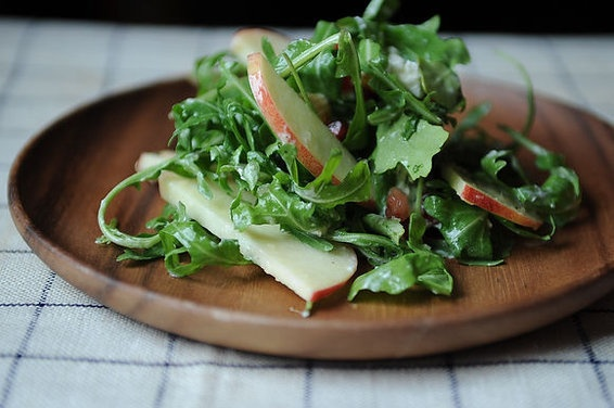 Arugula, goat cheese, pomegranate seeds, apple, ginger and almonds