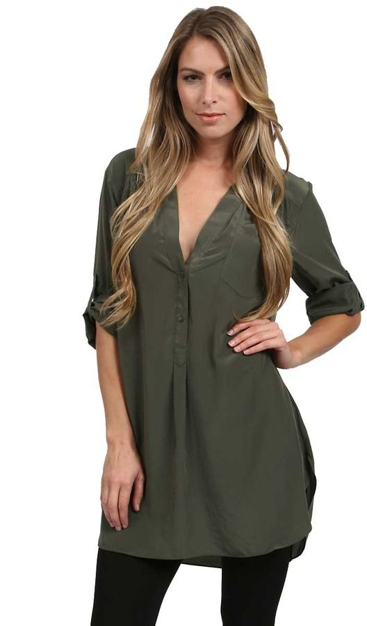 Zoa Rose Skin Roll Up Sleeve Tunic in Olive on shopstyle.com