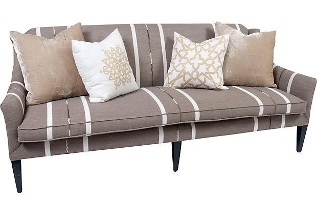 Striped Sofa W Throw Pillows