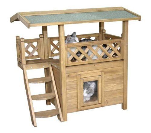 Outdoor Cat House Shelter Large Wooden Play Kitty Condos Lodge ...