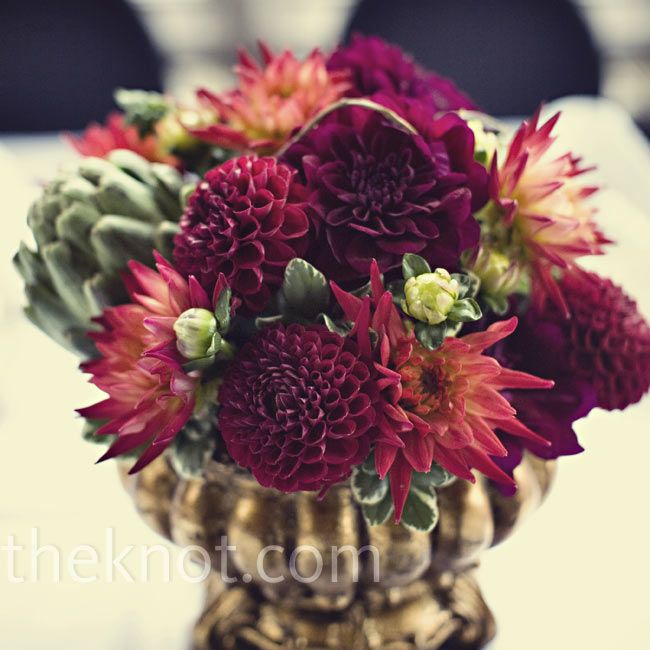 Artichokes and dahlias wedding flowers pinterest