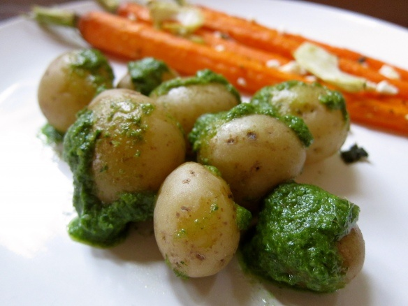 ... : Roasted Carrots and Fennel + Baby Potatoes with Carrot-Green Pesto