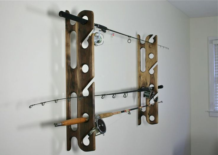 Pin by irene kusters berney on sports fishing and more for Wall fishing rod holder