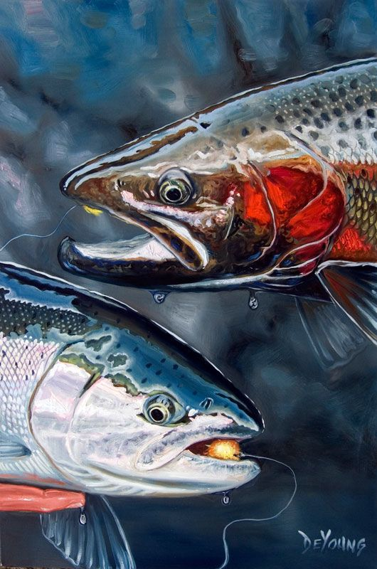 Trout fishing painting