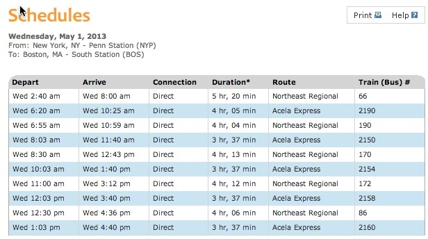 Amtrak train schedule from nyc to boston us trip pinterest