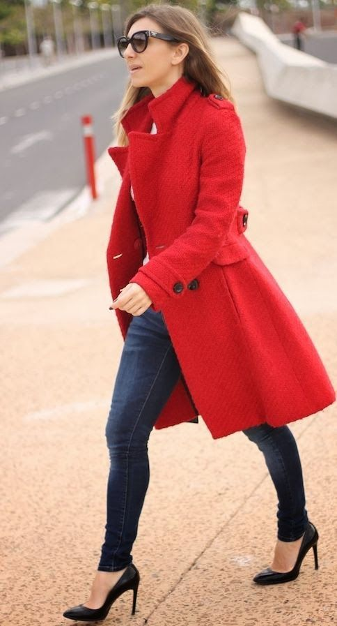 Long Red Jacket and Jeans for Street Style