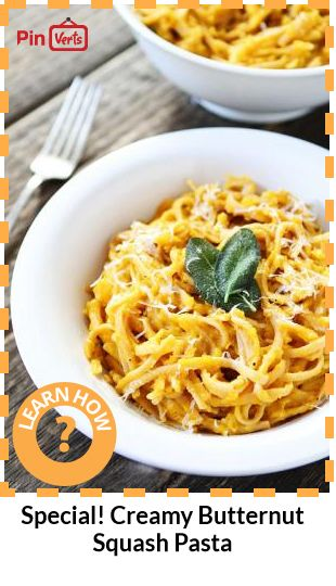Whole wheat pasta with creamy butternut squash sauce and crispy sage ...