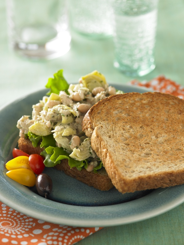 Tuna Salad Sandwich. Tuna, artichokes and white beans dressed in pesto ...