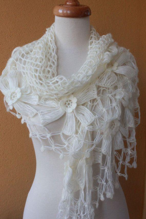 Shawl Wedding Ivory Shawl Crochet Shawl TRIANGLE by filofashion, $75 ...