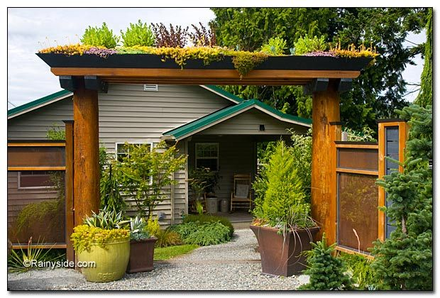 love the living roof entry