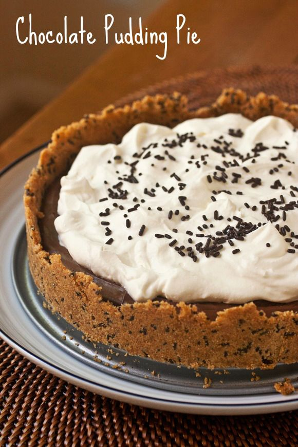 homemade chocolate pudding pie. crust is graham crackers and chocolate ...