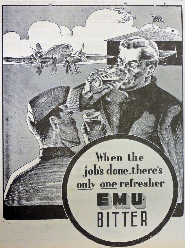 "Impressively illustrated advertisement for Emu Bitter beer, from the newspaper in April 1942. ""When the job's done, there's only one refresher"" - with a strong patriotic overtone and wartime theme."