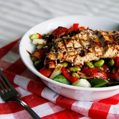 Edamame Chicken Dinner Salad Healthy!!