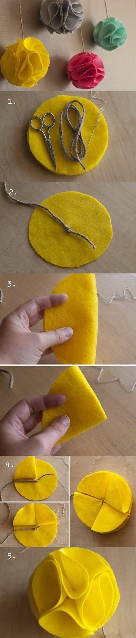 как сделать елочный шар из фетра
