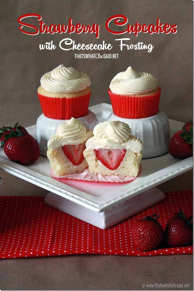 Surprise Strawberry Cupcakes with Cheesecake Frosting from ...