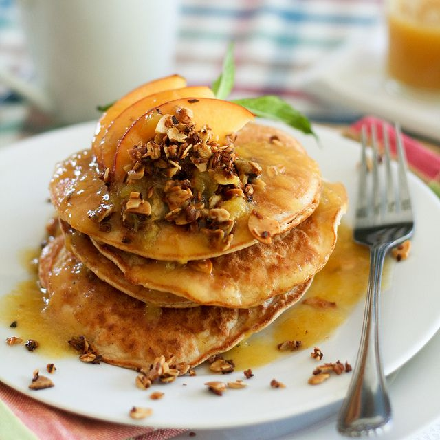 Peach Cobbler Coconut Pancakes. Really the Healthy Foodie? Really??? I ...