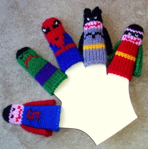 Cat Tea Cosy Knitting Pattern : Knit finger puppets superheroes