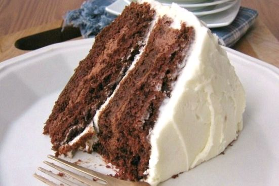 layer chocolate stout cake with chocolate cream filling & vanilla ...
