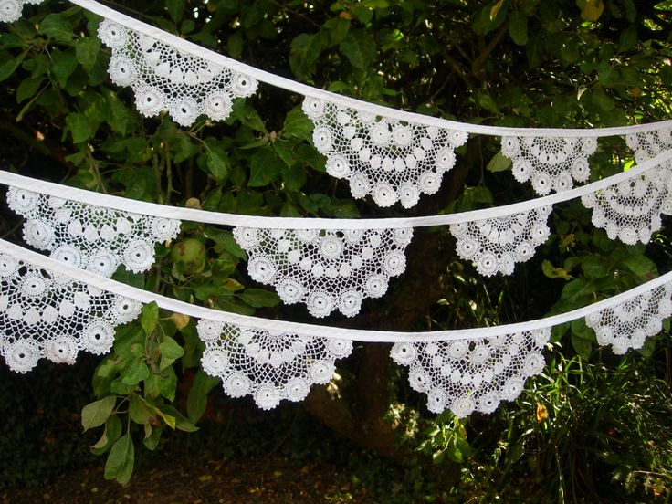 Bunting from Vintage White Cotton Crochet Lace by SecretFrogCrafts, £30.00