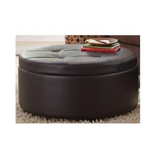 new large round storage ottoman faux leather tufted fabric
