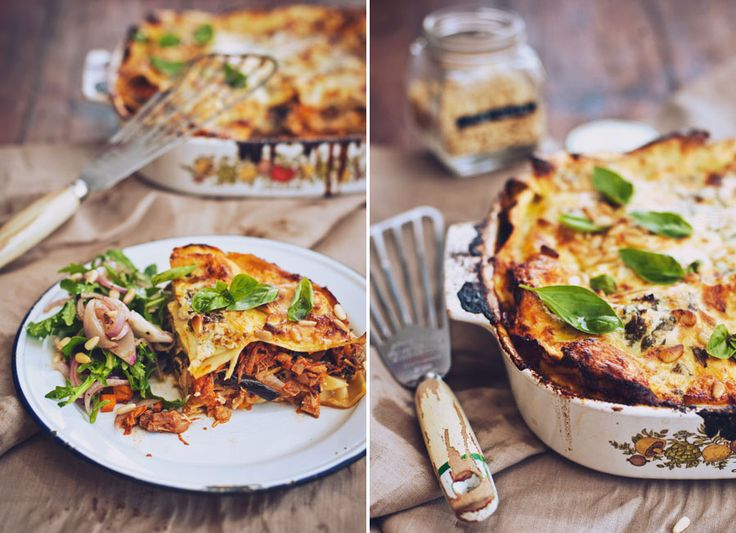 Roast chicken and grilled eggplant lasagne