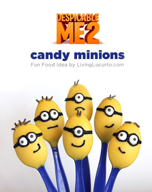 Cute!! Despicable Me 2 Minion Candy Spoons with Free Printable #Easter Tags. Fun idea for a party! #recipe #party #DespicableMe 2 #minions LivingLocurto.com