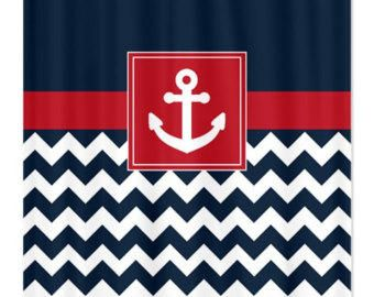 Nautical shower curtain navy and