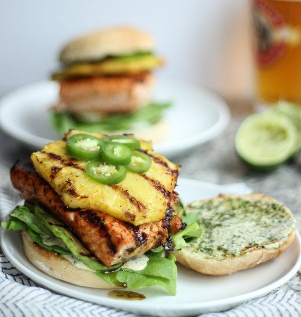 Tropical Grilled Salmon Burger with Grilled Pineapple & Avocado | Rec ...