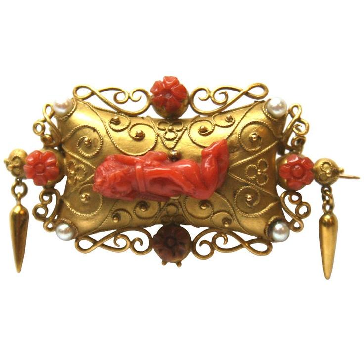 Итальянское золото, Coral и Перл Брошь - Италия в.  19-го века