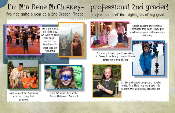 This is my daughter s 2nd grade yearbook page