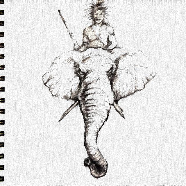 African Warrior on ElephantZulu Shield Drawing