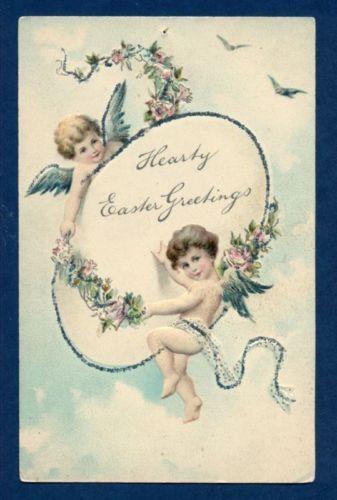 Y0492 Easter postcard, PFB 5777, Cupids, Giant egg,