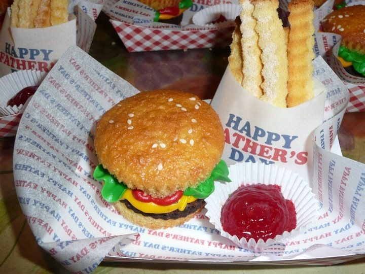 Hamburger cupcakes pound cake fries w/raspberry ketchup !!