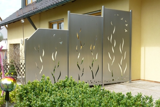 stainless steel privacy screen entr e de jardin garden gate pin. Black Bedroom Furniture Sets. Home Design Ideas