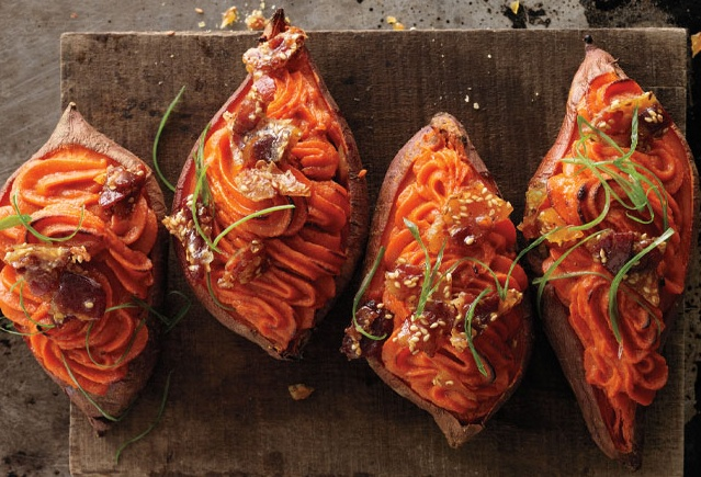 Twice-Baked Sweet Potatoes with Bacon-Sesame Brittle | Recipe