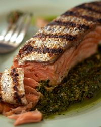 Grilled Salmon with Cilantro-Pecan Pesto | Here, salmon is grilled ...