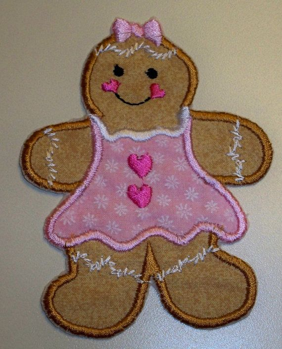 Gingerbread girl Christmas iron on or sew by UniqueEmbroideries4U, $5 ...