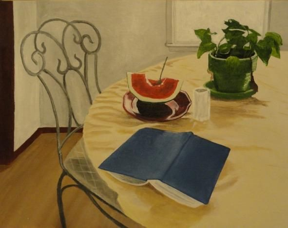 """""""Summertime, Watermelon, And a Good Book"""" by Patricia Freeman http://www.ugallery.com/acrylic-painting-summertime-watermelon-and-a-good-book# #classicism"""