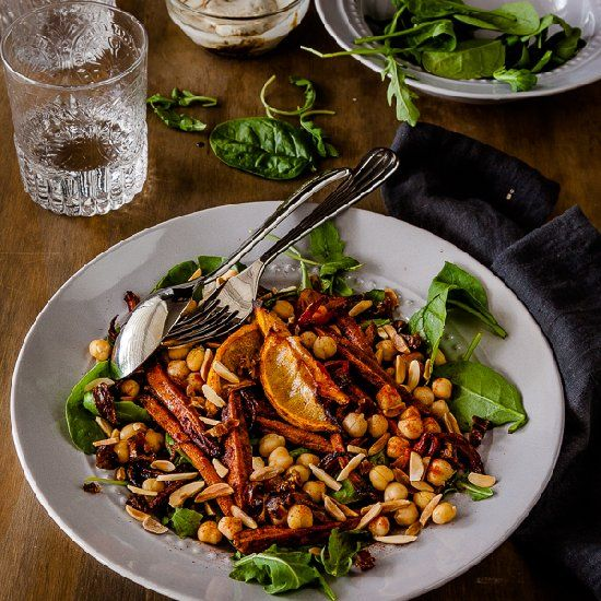 Roasted Moroccan Carrot Salad with chickpeas, almonds, dates and a ...