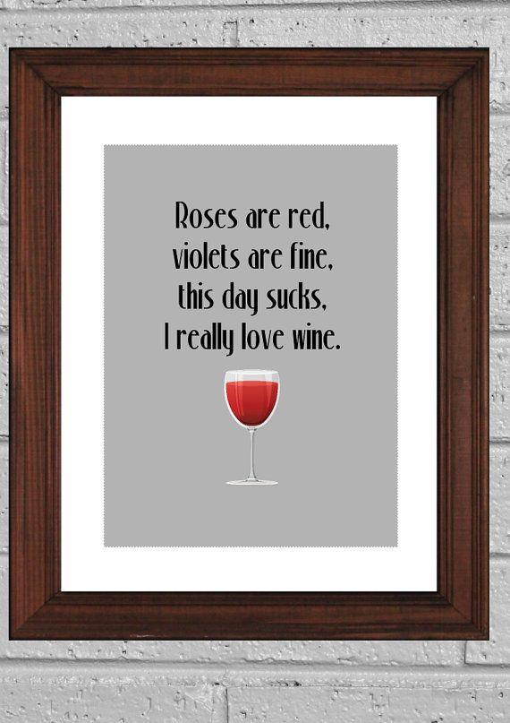 Funny Art Print I Love Wine Typography Print Wall Decor Kitchen Art